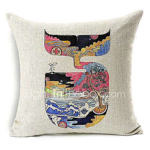 motif de Vivid baleine coton / lin taie d'oreiller décoratif