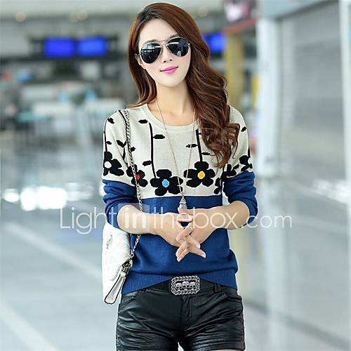 women-korean-sun-flower-round-collar-fit-pullover-knitwear-kintted-sweater