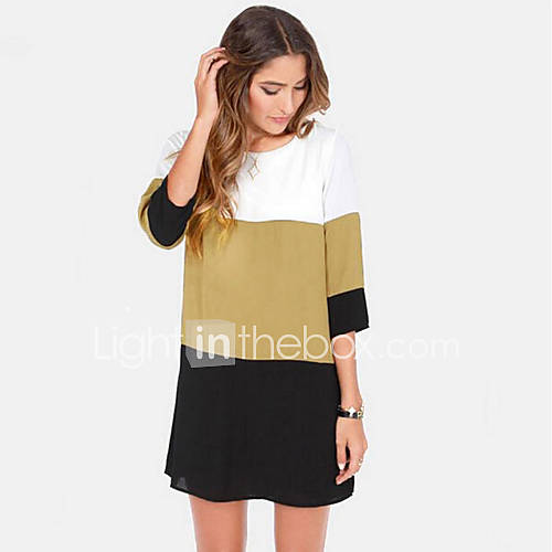 Women's Round Collar Contrast Color Loose Dresses