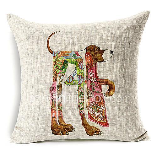 vive motif de chien coton / lin taie d'oreiller décoratif