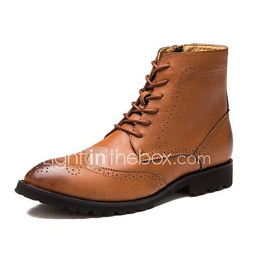 chaussures bottes mode bottes pour hommes talon plat en cuir mi-mollet avec plus de couleurs à lacets disponibles