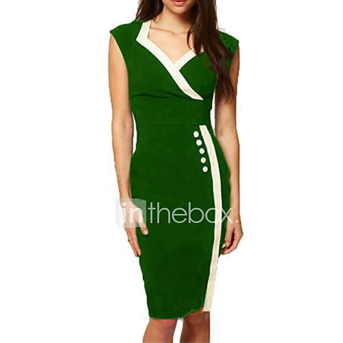 meishang women'sv-cou robe fourreau à manches courtes