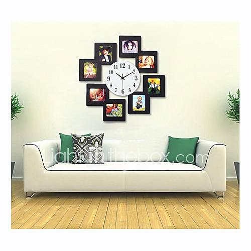 super-sized luxueux horloge moderne mur w / cadre photo - noir (1 x AA)