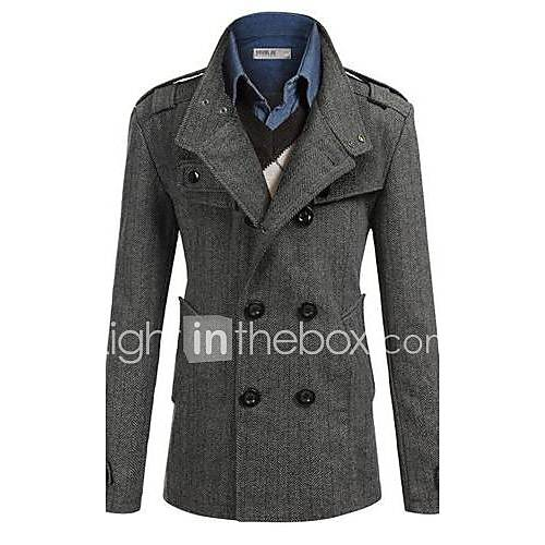 Men's Fashion Personality Long Sleeve Simple Cultivation Trench coat