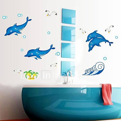 Stickers Muraux Sticker Mural Dessin Anim Blue Dolphin