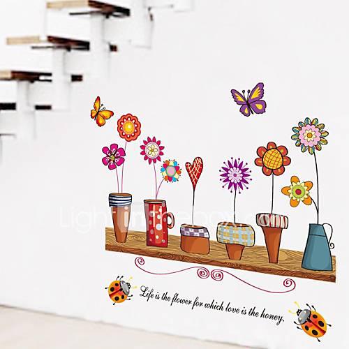 murali Stickers adesivi murali, stile country adesivi murali vaso di fiori in pvc del 2435838 ...