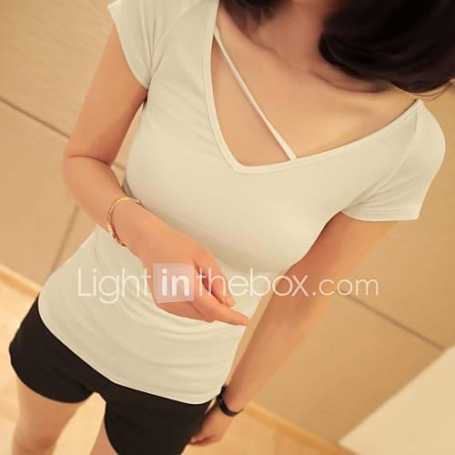 uoar sexy col V T-shirt pur modale origine atmosphérique mince manches courtes