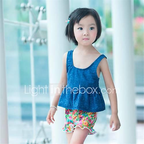 source d'eau chaude thermale de maillots de bain tankini douce arc mignonne impression couleur lycra petite fille de xiazhilian enfant