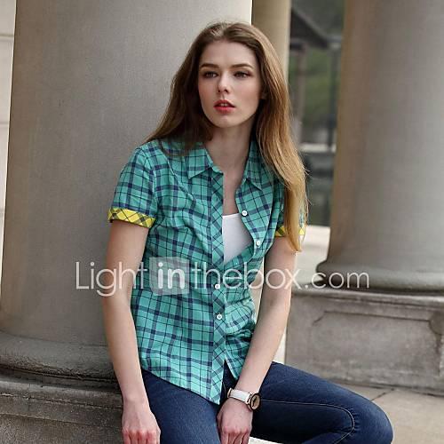 collier tour-down couleur contrastée à carreaux en coton chemise de style britannique de véri de les femmes