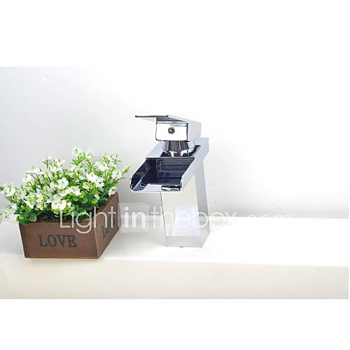 finition chrome contemporaine laiton seul trou cascade lavabo robinet