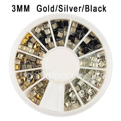 or / argent / noir carré alliage de rivet nail art décoration 3x3mm