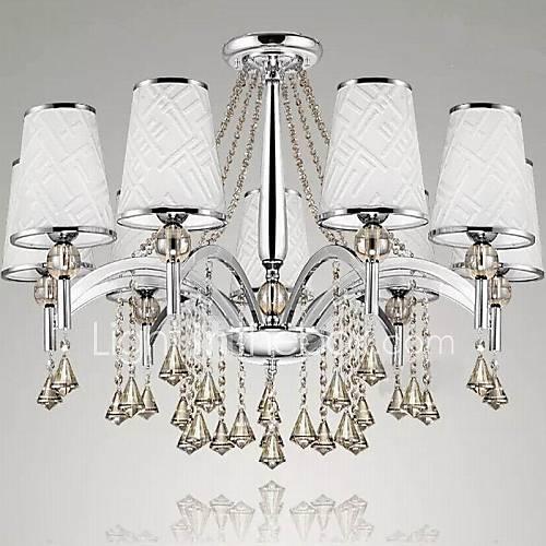 lustre en cristal salon art tissu léger éclairage lustre 9 lumières