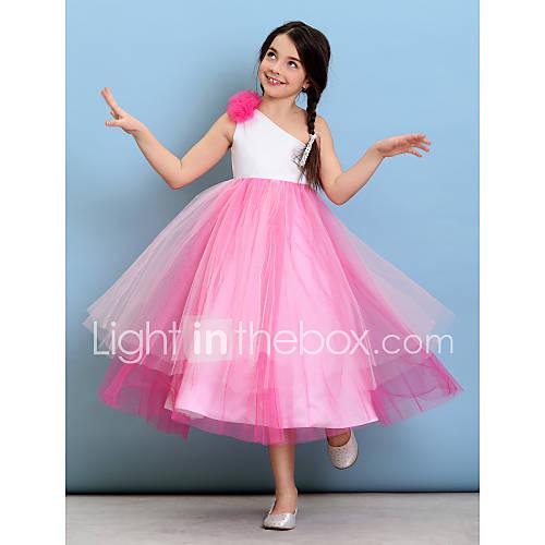 Lanting bride tea length tulle junior bridesmaid dress for One shoulder tea length wedding dress