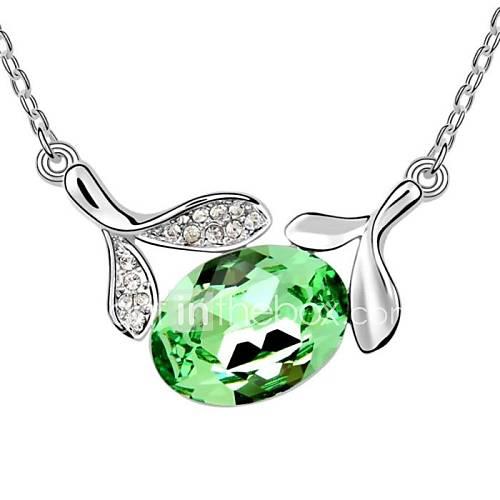 elegante ecklace curto erva doce das mulheres banhado com 18k verdadeiro peridoto platina cristalizado pedras de cristal austríaco