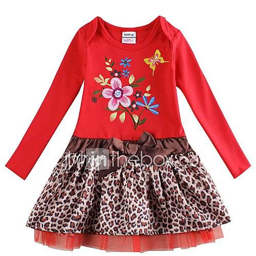 robe enfants printemps d 39 hiver manches longues de la jeune fille avec des fleurs robe brod e. Black Bedroom Furniture Sets. Home Design Ideas