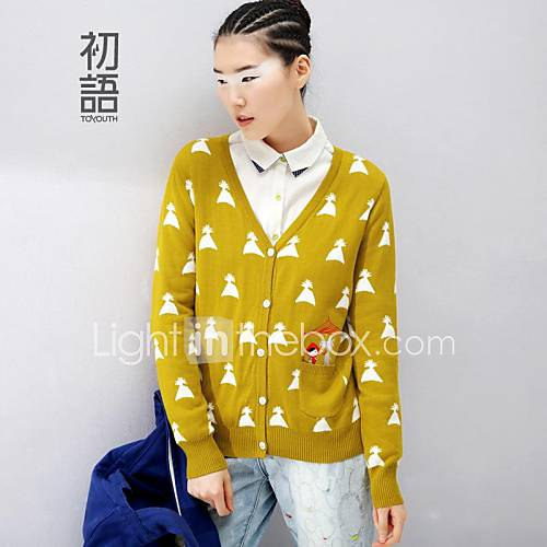 Toyouth  the spring of 2015 cartoon embroidered knitted cardigan