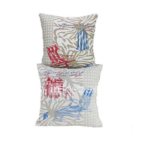 16  u0026quot;vierkant oceaan serie mode rode blauwe stoel en het huis katoen decoratieve kussensloop