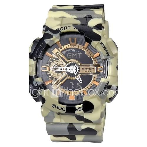 relógio de camuflagem militar design dual fusos horários elástico pulso dos homens (cores sortidas)