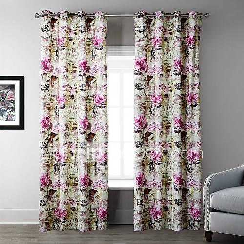 (Deux panneaux) la lumière hortensia rose motif rideau
