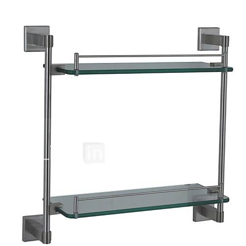 Estantes Para Baños Acero Inoxidable:Glass Nickel Bathroom Wall Shelf