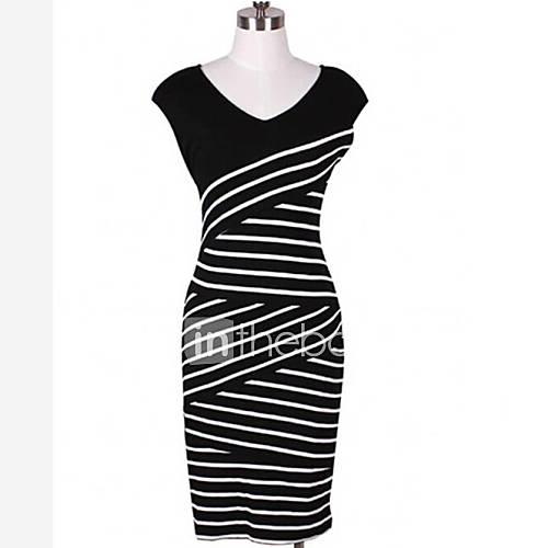 v cou Stripe robe à manches courtes des femmes uyina