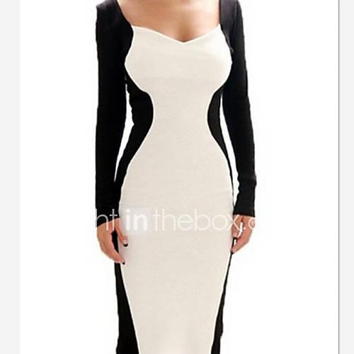 à manches longues de couleur de contraste de la robe moulante des femmes uyina