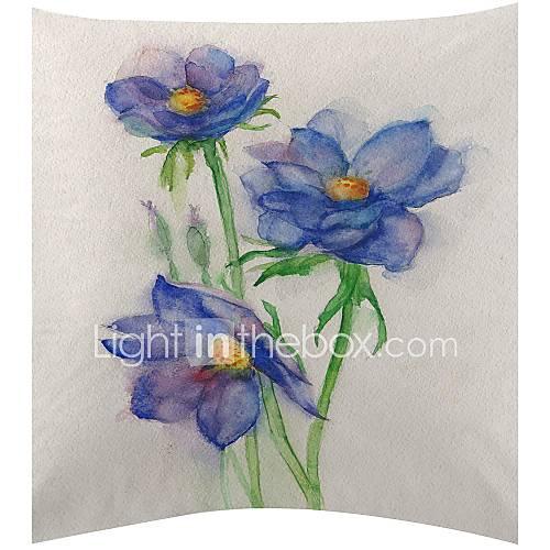 blauwe aquarel bloemen fluwelen decoratieve kussensloop 2635109 2016  u2013 $7 99