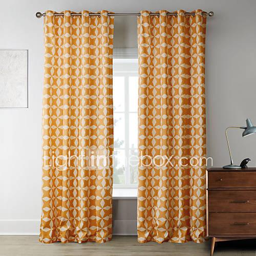 (Deux panneaux) étoiles orange itératives motif rideau