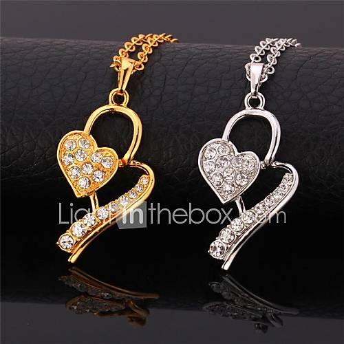 Collier fantaisie mignon de coeur en or 18 carats plaqué platine réelle strass collier pendentif pour les femmes de haute qualité