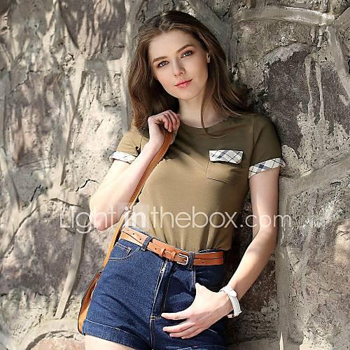 t-shirt col britannique manches courtes de style épissage ronde de véri les femmes