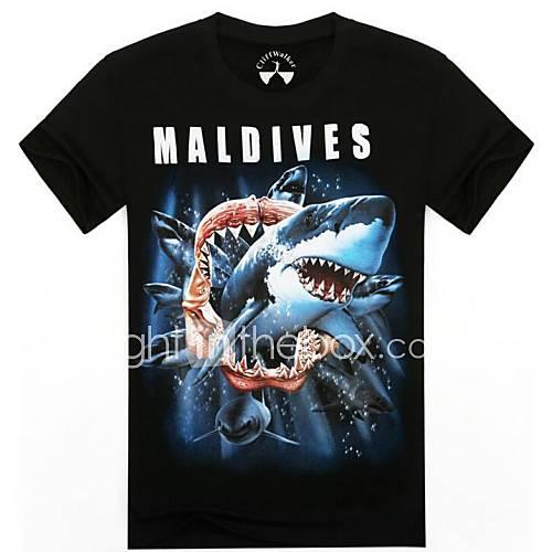 o-cou requins d'été les 3d t-shirt à manches courtes imprimés des hommes animaux