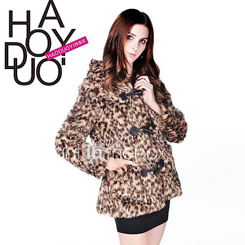 léopard manches longues des femmes haoduoyi avec des boutons Le hoodie manteau
