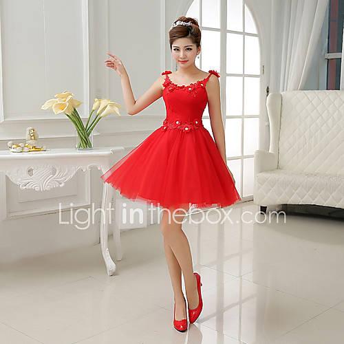 A-ligne / Princess Scoop court mini robe de demoiselle d'honneur