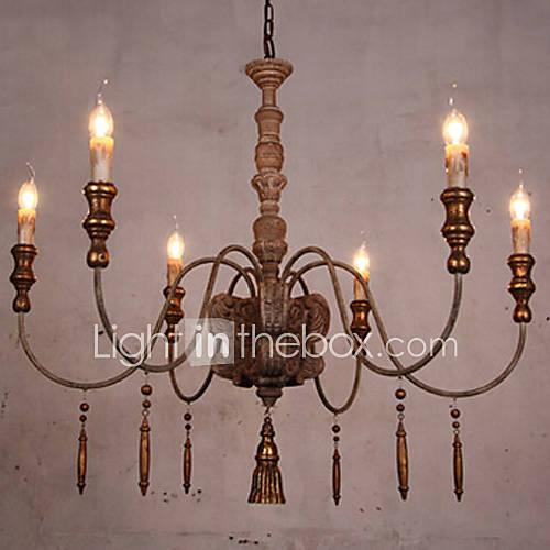 Lustre, 6 lumière, américain style rétro lampe de restaurant métal