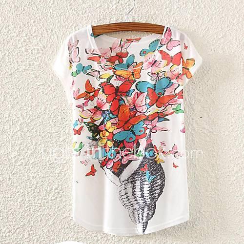 Vrouwen Lente / Zomer / Herfst T-shirt Print Ronde hals Korte mouw Wit Dun