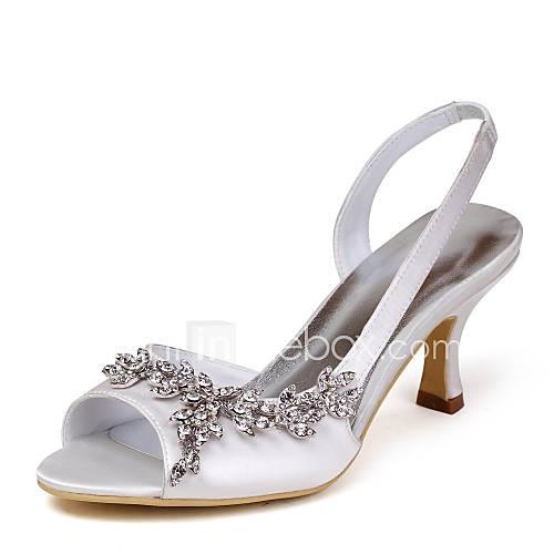 Satin Upper Mid Heel Strappy Sandals Wedding Bridal Shoes