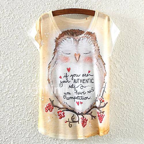 Vrouwen Eenvoudig Lente / Zomer / Herfst T-shirt,Casual/Dagelijks Kleurenblok Ronde hals Korte mouw Wit Dun