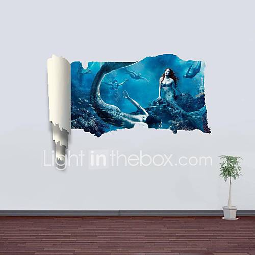 3d wall stickers wall decals mermaid decor vinyl wall for Sticker mural 3d