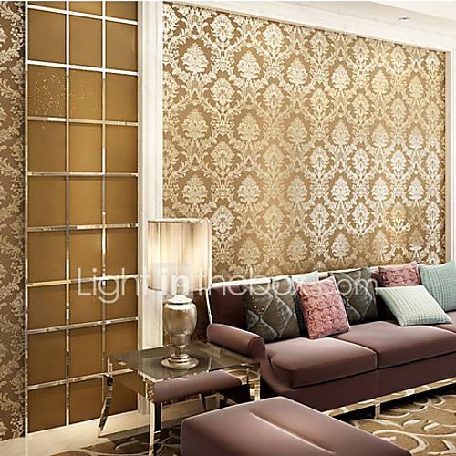 Papel tapiz floral contempor neo damasco caf dise os luz - Papel pared lavable ...