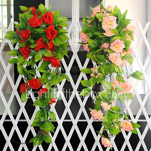 artificial flowers 98 4 l roses rattan 1 piece plastic silk 2869563