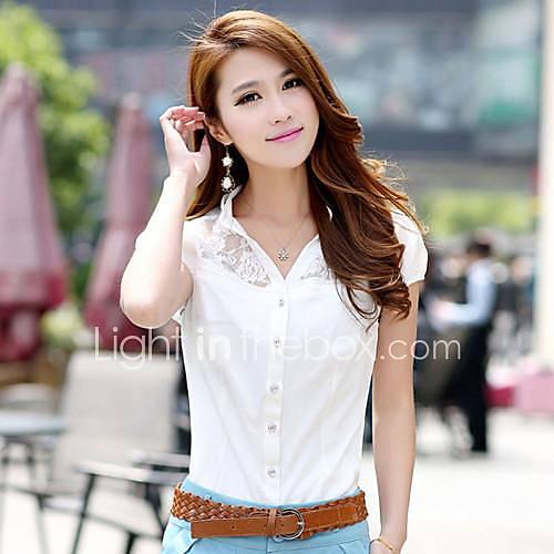 vrouwen-eenvoudig-street-chic-zomer-overhemd-casual-dagelijks-effen-v-hals-korte-mouw-wit-zwart-oranje-dun