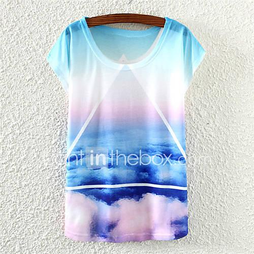Én seje kvinder himmel mønster løs kortærmet t-shirt - usd $ 8.99