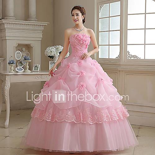Salón / Princesa Vestido de Boda Vestidos Novia en Color Hasta el Suelo Sin Tirantes Organza con Apliques / Perla / Flor Descuento en Lightinthebox
