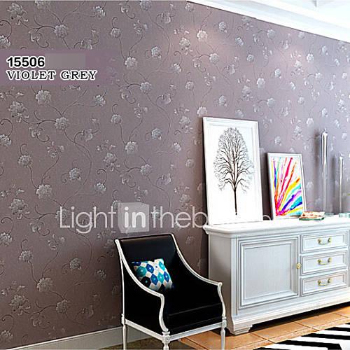 moderne tapeter floral lilla gr? blomst design for jenter rom vegg ...