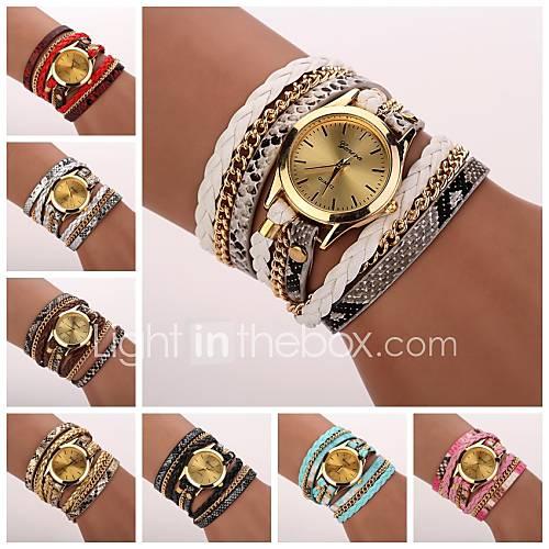 Mujer Reloj de Moda / Reloj Pulsera Cuarzo Leopardo PU Banda Casual Negro / Blanco / Azul / Rojo / Rosa Marca Descuento en Lightinthebox