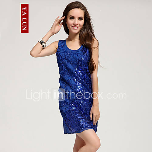 Yalun ™ kvinders sød slank rund hals ærmeløs kjole - usd $ 21.08