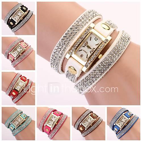 banda de diamantes de imitación de línea diamante rectangular reloj de las mujeres Descuento en Lightinthebox