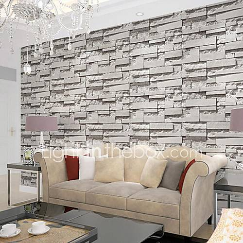 Contemporary brick wallpaper geometric wall covering pvc for Grey brick wallpaper living room