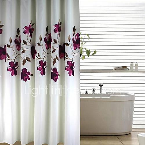 Modern Ink Purple Floral Peach Finish Shower Curtain