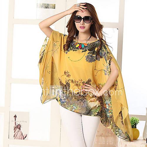 vrouwen-boho-zomer-blouse-casual-dagelijks-print-ronde-hals-mouwloos-blauw-wit-zwart-oranje-geel-polyester-medium